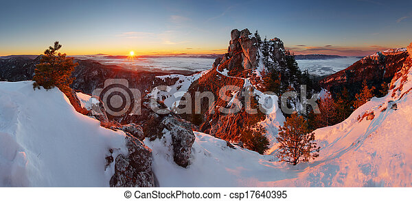 Panoramic mountain winter landscape, Slovakia - csp17640395