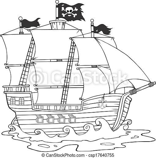 Vecteur clipart de blanc noir pirate bateau noir et blanc pirate csp17640755 - Bateau de pirate dessin ...