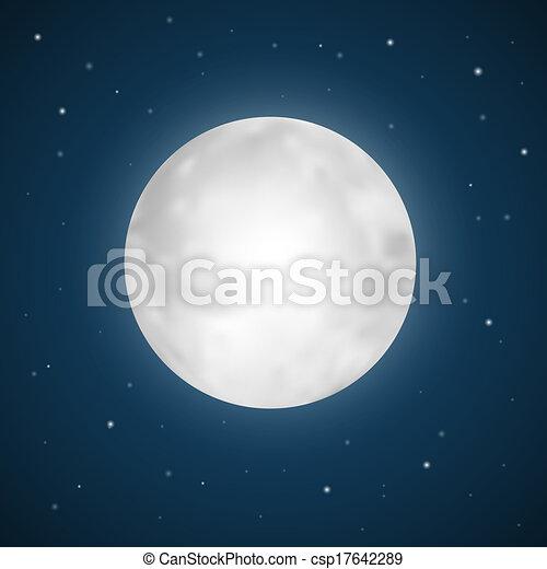 Vector Full Moon Illustration with Stars - csp17642289