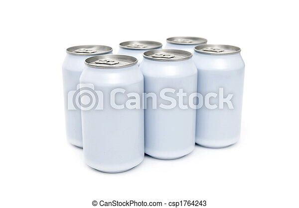 Six pack beverage cans high key - csp1764243