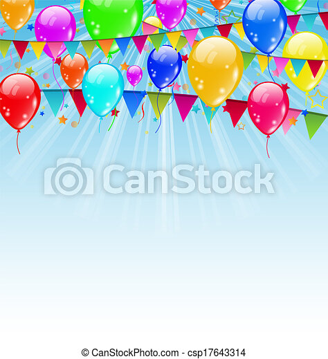 Illustration holiday background with birthday flags and confetti in the blue sky - vector - csp17643314