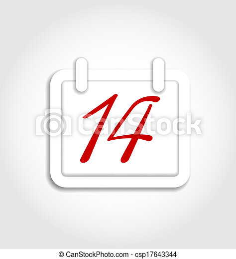 Calendar icon for Valentines day on 14th february - csp17643344