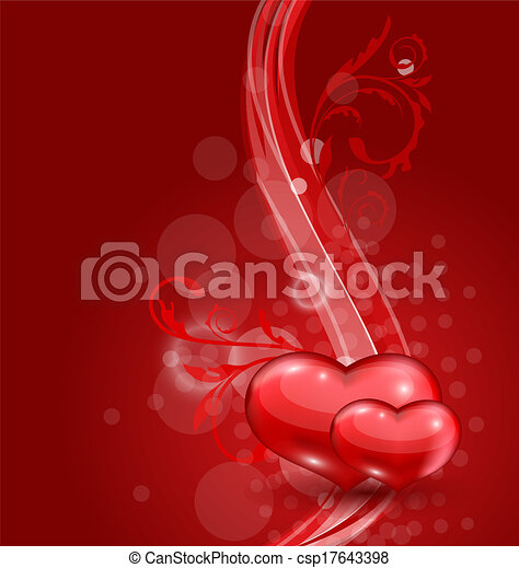 Floral background with beautiful hearts for Valentine day - csp17643398