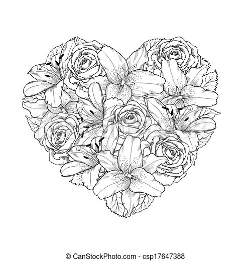 Beautiful heart decorated by flowers, roses and lilies of black and white color. Symbol of a holiday of a St. Valentine's Day - csp17647388
