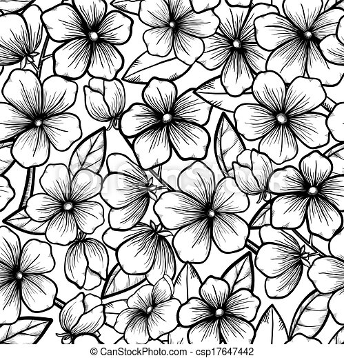 Beautiful seamless background in black-and-white style. Blossoming branches of trees. Outline of flowers. Symbol of spring. - csp17647442