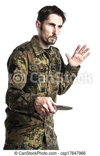 Male self defense instructor with camouflage do a self defense ...