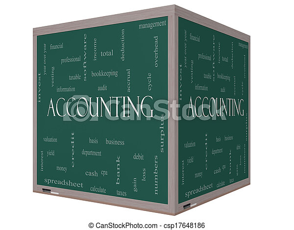 Accounting 3D Cube Word Cloud Concept on a Blackboard - csp17648186
