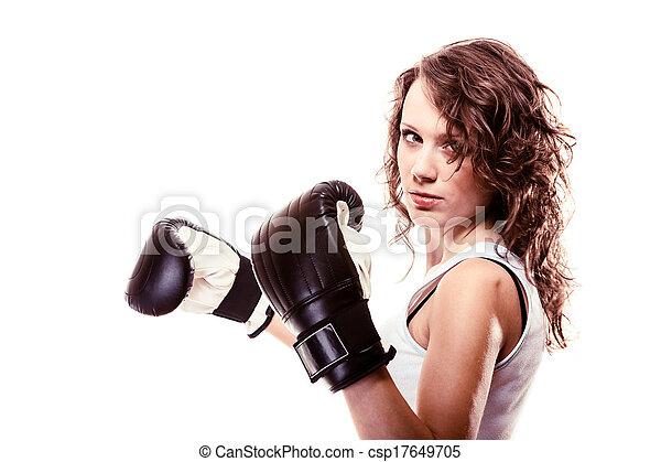 Sport boxer woman in black gloves. Fitness girl training kick boxing. - csp17649705