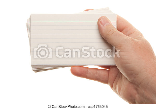 Male Hand Holding Stack of Flash Cards - csp1765045