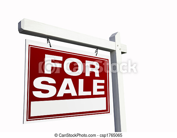Red For Sale Real Estate Sign on White - csp1765065