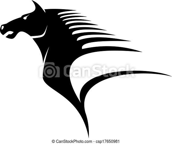 Vettore di cavallo volare criniera stilizzato nero e for Disegno cavallo stilizzato