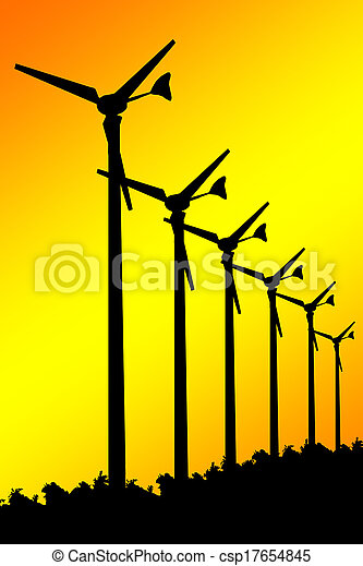 Silhouette Wind turbines on yellow background.