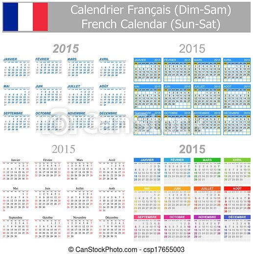 Vecteur 2015 francais m lange calendrier sun sat for Calendrier electronique mural francais