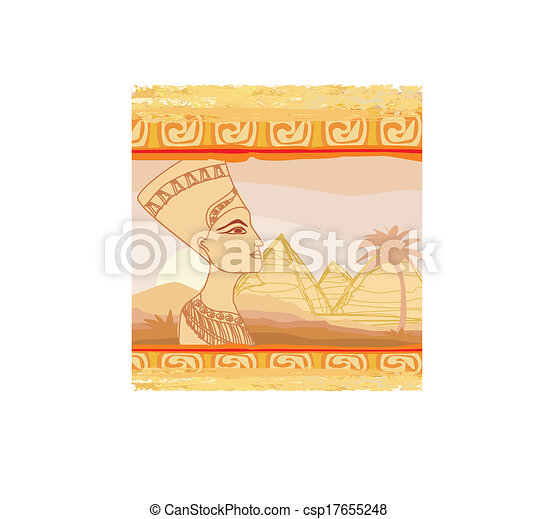 old paper with Egyptian queen  - csp17655248