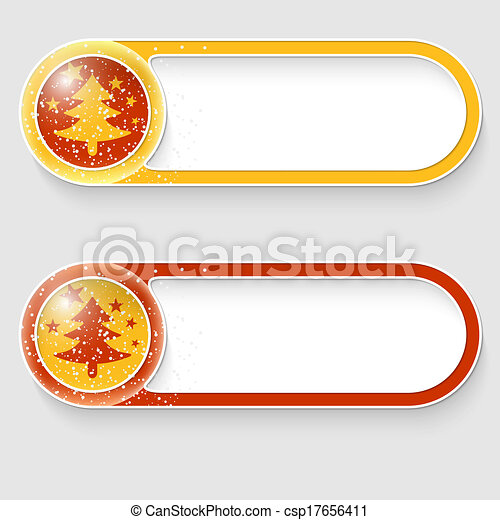 two vector abstract buttons with a Christmas tree - csp17656411