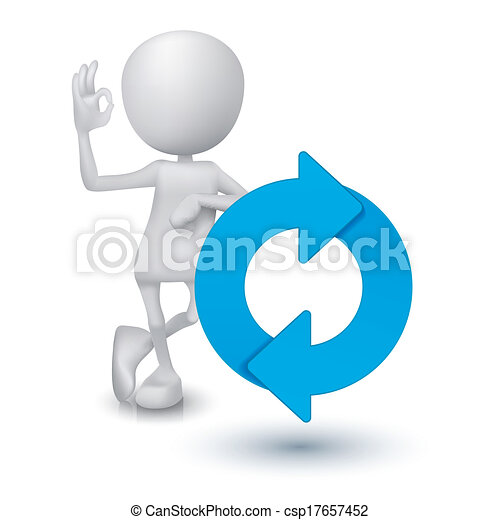 Clipart Vector of 3d man showing okay hand sign with a refresh ...