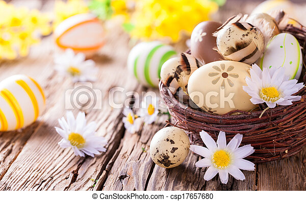 Easter eggs on wood - csp17657680