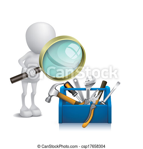Vector Clipart Of 3d Man Watching The Tools In The Toolbox