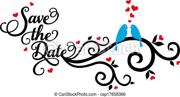 save the date, wedding birds, vecto - csp17658366