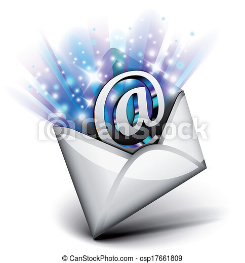 Vector Clipart of Email radiating with blue rays csp17661809 ...