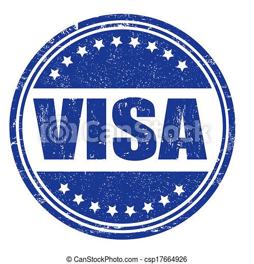 切手, ビザ - ビザ, グランジ, ゴム, 切手, 上に, 白, ベクトル, イラスト csp17664926の ...