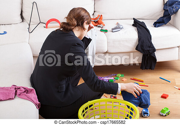Busy woman is tired her workload - csp17665582