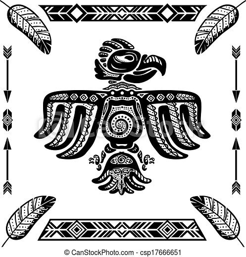 vecteur clipart de aigle tribal indien tatouage tribal indien aigle csp17666651. Black Bedroom Furniture Sets. Home Design Ideas