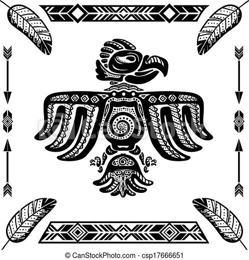 vecteur clipart de aigle tribal indien tatouage tribal indien aigle csp17666651. Black Bedroom Furniture Sets. Home Design Ideas