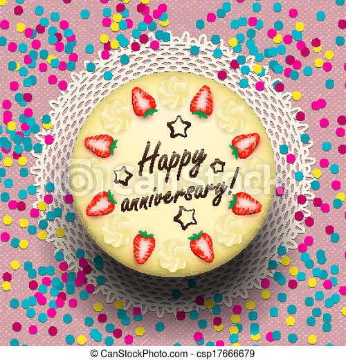 Free Download Images Of Anniversary Cake : Vectors Illustration of Icecream anniversary cake ...