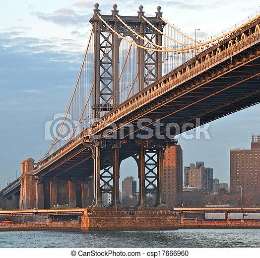 Bridzs, új,  York,  Manhattan,  USA - csp17666960