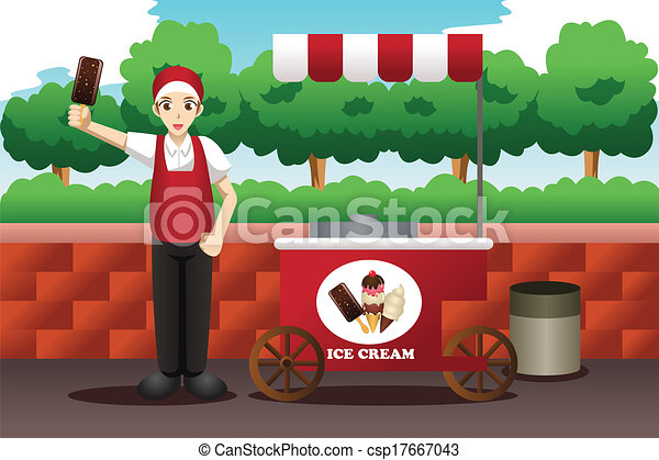 Ice Cream Seller Drawing Ice Cream Man a Vector