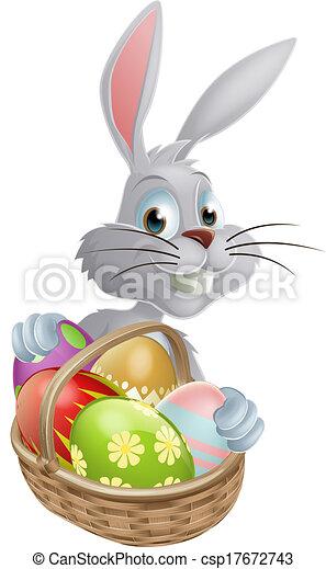 Eggs basket white Easter bunny - csp17672743