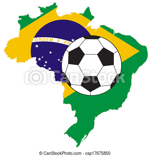 vector of soccer ball with map and flag of Brazil - csp17675850