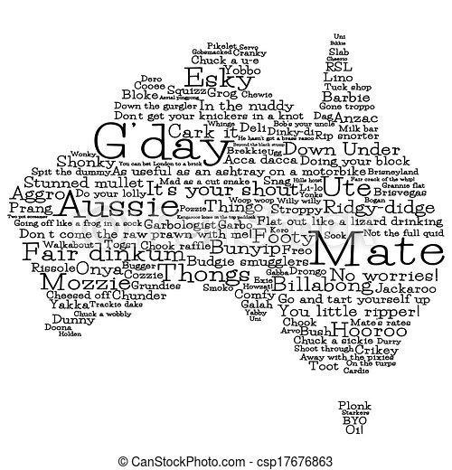 Clip Art Vector of Australia map made from Australian slang words ...