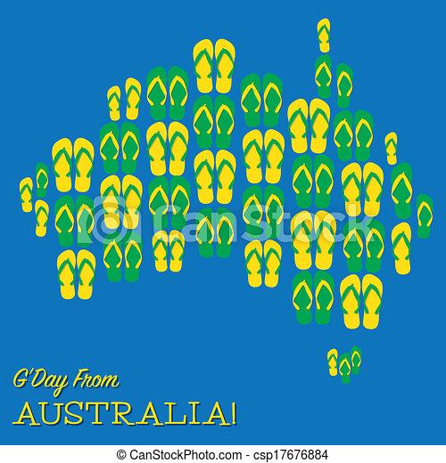 Australian Made Vector Australian Map Made of Thongs