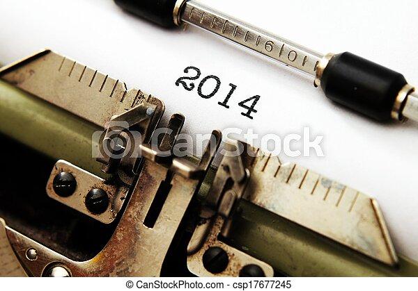 2014, text, skrivmaskin - csp17677245
