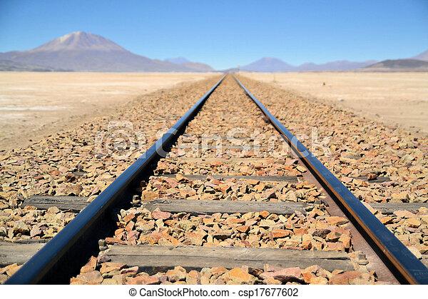 Endless train tracks in the desert - csp17677602