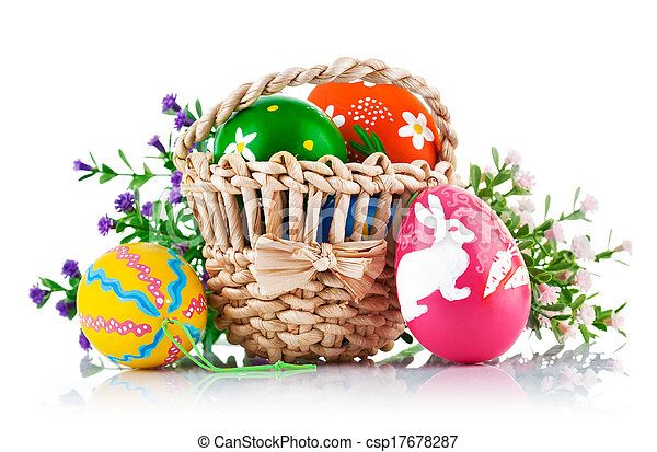 easter eggs in basket with spring flowers - csp17678287