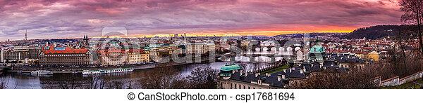 Bridges in Prague over the river at sunset - csp17681694