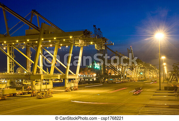Fully automated container terminal at night - csp1768221