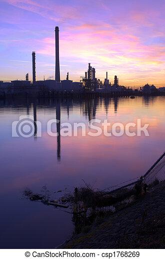 Oil Refinery Sunset - csp1768269