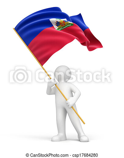 Man and Haitian flag - csp17684280