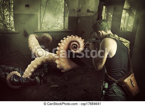 Military man shoots machine gun in octopus - csp17684641