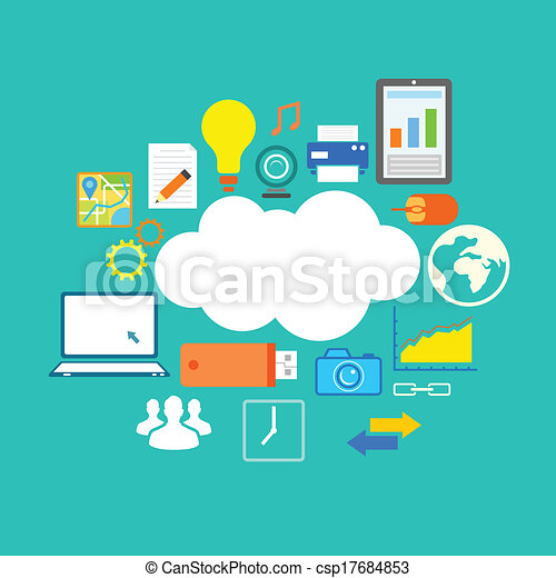 Clipart Vector of Flat Technology Design of CLoud COmputing ...