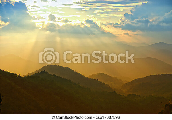 beautiful sunset with clouds  - csp17687596