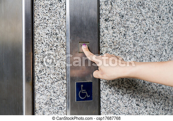 Beautiful Asian Woman Standing by Elevator