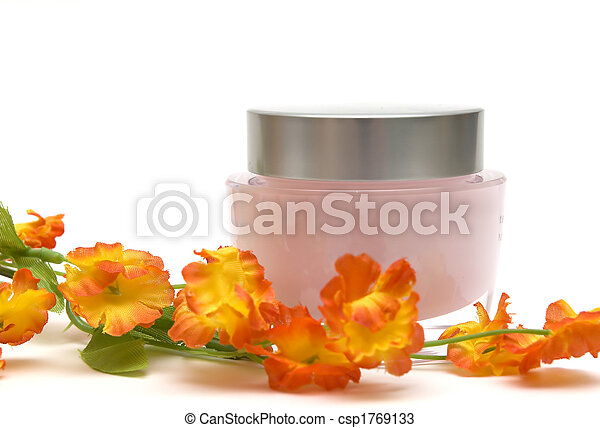 moisturizer cream and flower - csp1769133