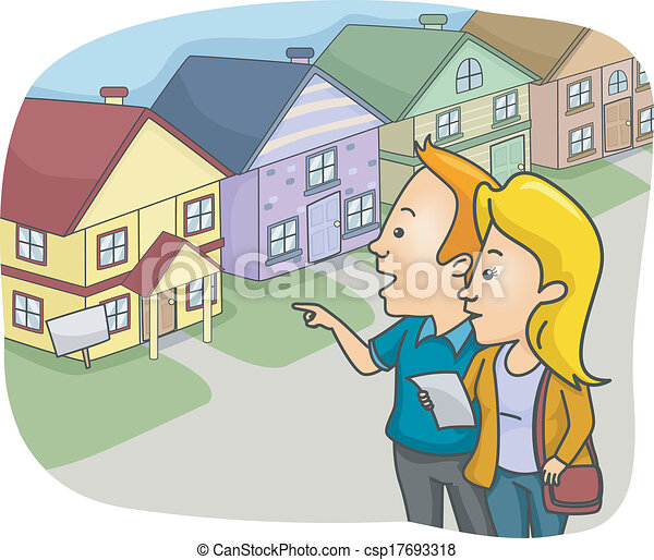 Vector Clip Art Of House Hunting Illustration Of A