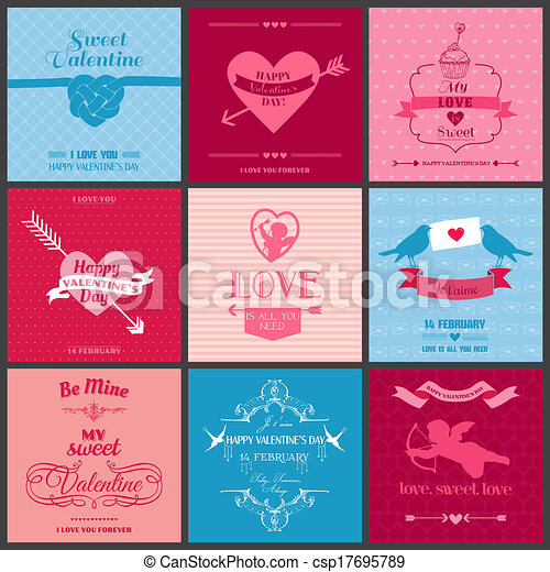 Set of Love Cards - Wedding, Valentine's Day, Invitation - in vector - csp17695789
