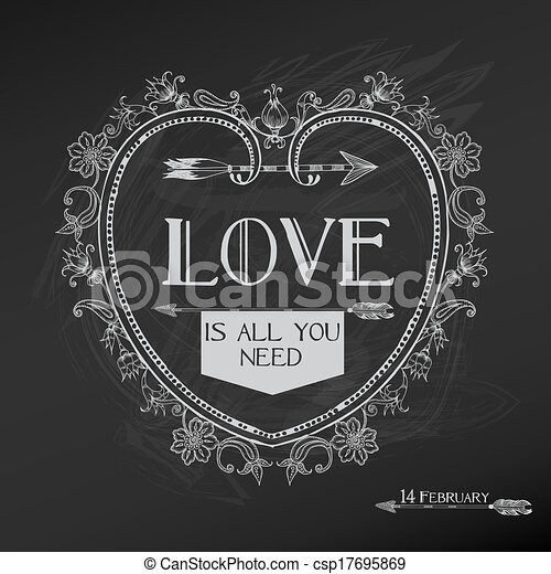 Vintage Valentine's Day Card Design - love, wedding - in vector - csp17695869